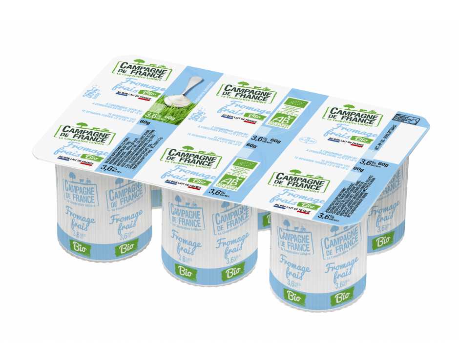 Photo packaging Fromage Frais Nature Bio 3,6%MG 6x60g