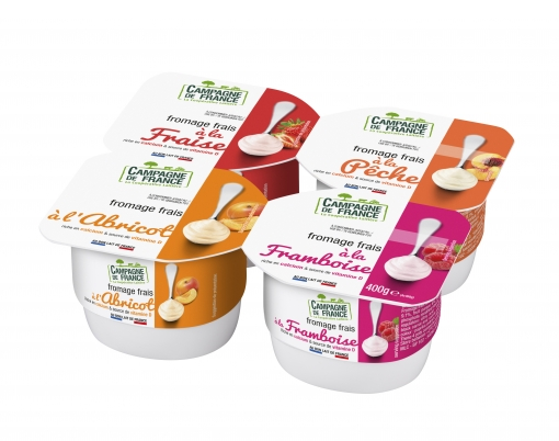 Photo packaging fromage frais sucré à base de fruits 2% *4